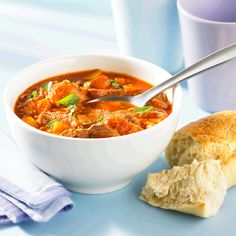 This simple beef based meal-soup recipe has two unlikely ingredients: tomato juice and day-old bread. The bread is an old-fashioned no-fat trick for thickening. A half cup (125 mL) of tomato juice represents one Food Guide Serving of vegetables.