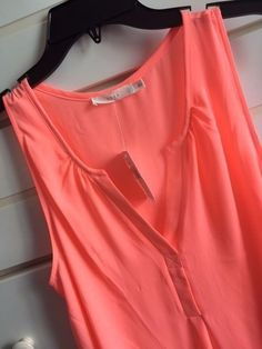 WOMENS Large LUSH bright HOT PINK sleeveless SHEER V-neck TOP shirt BLOUSE NEW! #Lush #Blouse #fashion #clothing #summer #hotpink #coral #ebay #lush