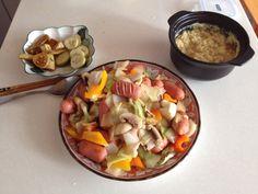 Sausage Vegetable Medley with soy sauce pickles and ttukbaegi gyeranjjim (steamed eggs) on the side