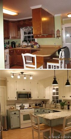 Before and After: 80s Kitchen Transformation. Love the two tone cabinets in blue and cream, the black hardware so much. Especially love the nice granite countertops which gives a lift to the whole space. #kitchenmakeovers