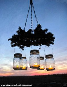 Mason Jar Wreath Chandelier by treasureagain @ etsy