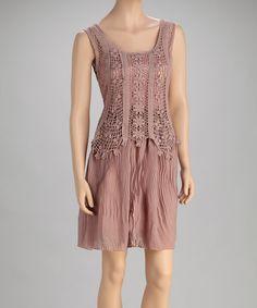 Look what I found on #zulily! Mauve Ruffle Sleeveless Dress by Pretty Angel #zulilyfinds