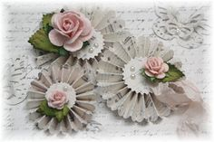 Handmade Shabby Chic Rosette Flowers with by LittleScrapShop
