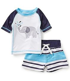 Starting Out Baby Boys 12-24 Months Elephant Tee & Striped Swim Shorts Set