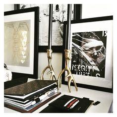 Black Gold & White entry way design. Cloth & Paper Stationery. H&M Home gold candlesticks. Louis Vuitton Agenda (LV Desk Agenda)
