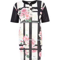 Black floral check t-shirt dress