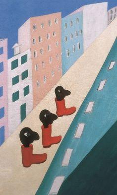 Cidade, 1929, de Tarsila do Amaral. Óleo sobre tela. 81 x 54cm. <br>Esta é a primeira vez que Tarsila é contextualizada para além do campo das artes, abordando também o período pelo qual o Brasil e o Rio passavam, de lutas pelos diretos das mulheres que assumiam seu papel na sociedade, seus corpos e desejos.
