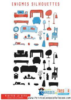 Enigmes pour enfants faciles à faire sur des silhouettes d'objets
