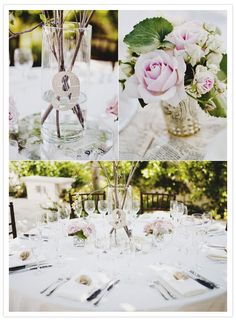 classy wedding tabletop with table numbers made from the pages of books