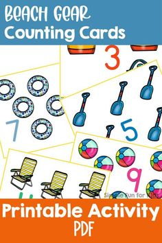 Practice counting and number recognition with this cute set of printable Beach Gear Counting Cards! Includes numbers 1 through 12, perfect for toddlers, preschoolers, and kindergarteners. Math Activities For Kids, Sensory Activities, Printable Cards, Printables, Beach Gear, Number Recognition, Counting, Cool Kids, Toddlers
