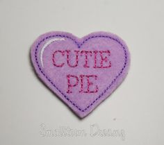 MADE to ORDER Cutie Pie Valentine's Day Heart  Felt Applique (Set of 4) UNCUT, Feltie