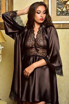 Peignoir set Nightgown Satin nightgown Lace gown women Wedding night lingerie Bridal robes Lace nigh – collants et dessous Jolie Lingerie, Satin Lingerie, Pretty Lingerie, Bridal Lingerie, Beautiful Lingerie, Women Lingerie, Bridal Robes, Sexy Lingerie, Bridal Gown