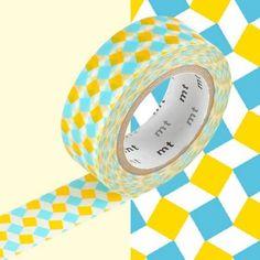 masking tape carreaux jaune et bleu 1.5 cm/10 mètres .