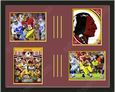 Four framed 8 x 10 inch Washington Redskins photos of Alfred Morris , double matted in team colors to 28 x 22 inches.  The lines show the bottom mat color.  $149.99 @ ArtandMore.com