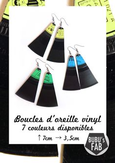 Boucles d'oreille VINYL - Disque Vinyl Vintage 45trs - via Bubu's Fab. Click on the image to see more!  Made in Paris by bubu's fab.   Vive L'upcycling !