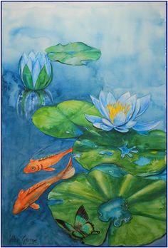 "Saatchi Online Artist: alan george; Watercolor, Painting ""Goldfish """