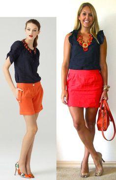 J's Everyday Fashion | orange-red and navy