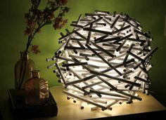 This lamp was made from rolled up newspapers.