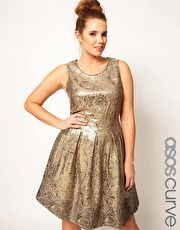 ASOS CURVE Exclusive Dolly Skater Dress In Gold Brocade