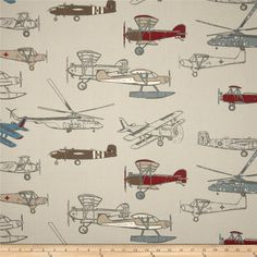 ST - This is just the fabric that you are able to buy. (Premier Prints Vintage Air Pewter/Natural from Colors include grey, red, tan, blue and light grey). Airplane Fabric, Airplane Quilt, Airplane Nursery, Big Boy Bedrooms, Premier Prints, Vintage Airplanes, Thing 1, Home Decor Fabric, Decoration
