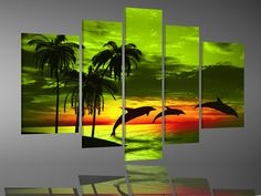 hand-painted free shipping  stretched  framed oil wall art Sand island the dolphins home decoration  Landscape oil painting  canvas 5pcs/set