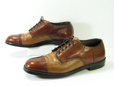 rand captoe oxford shoes mens 11 D brown tan vintage union stamp factory 1970s retro grunge