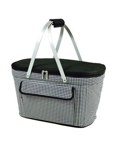 Black & white checkered picnic basket cooler: Thermal shield insulated picnic basket to keep food and drinks at the perfect temperature for hours. Constructed with a sewn in lightweight aluminum frame and handles. Leak proof, with a food safe lining. Zippered lid, padded hand grip, and front pocket.