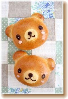 So cute - Bear bread ♥ Bento Japanese Bread, Japanese Sweets, Cute Food, Good Food, Yummy Food, Bread Art, Bread Food, Bread Shaping, Cute Baking