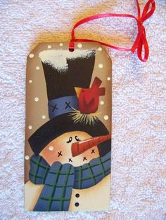 Adorable Snowman and Red Bird Gift Tag Ornament on Etsy, $5.00