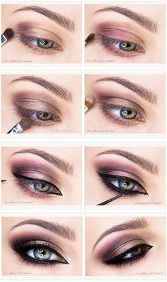 Mauve smokey + black eyeliner make-up #eyemakeupforbeginners