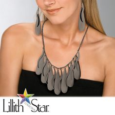 "Black Ruthenium-Plated Multi-Disk Bib-Style Necklace and Earrings Set Adjustable 18"" to 21"""