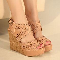 Cut Out Peep Toe High Wedge Heel Platform Sandal