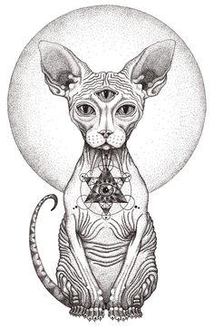 sfenks cat The Third Eye on Behance Illuminati Tattoo, Psychedelic Art, Art Drawings Sketches, Tattoo Sketches, Third Eye Tattoos, 3rd Eye Tattoo, Eye Sketch, Hippie Art, Cat Art