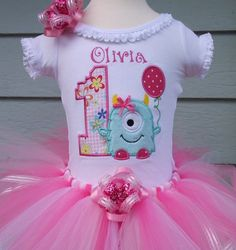 Little girl Birthday Monster shirt, tutu and matching hair bow | Turnabout - Clothing on ArtFire