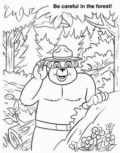 smokey the bear and friends coloring page crafts coloring pages