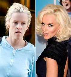Guilty Pleasure: Celeb no makeup/makeup pics side by side. Makes me want to do makeovers. Magic.