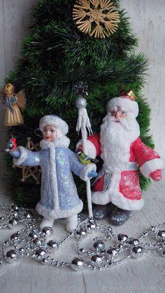 Дед мороз и снегурочка из ваты - куклы из ваты и крахмала – купить в интернет-магазине на Ярмарке Мастеров с доставкой