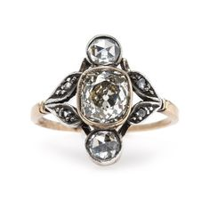Vintage Art Nouveau Engagement Ring with Extremely Unique Design   Herringbone from Trumpet & Horn