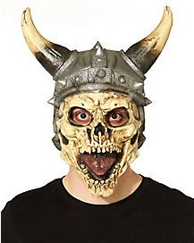 Viking Skull Mask - Conquer the seas and all the lands you set foot on when you wear the Viking Skull Mask. This creepy skull mask features a viking hat details along wit Skull Mask, Halloween Accessories, Skeleton, Vikings, Halloween Decorations, Horror, Costumes, Masks, Stuff To Buy