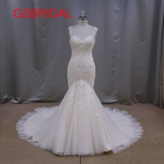>> Click to Buy << Free Shipping New Arrival Lace Appliques Sexy Zipper Back Tulle Cap Sleeve V Neck Tailored Mermaid Bridal Wedding Dress 2017 #Affiliate