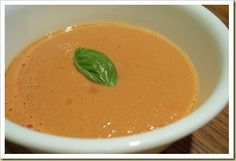 Simple raw tomato soup with tahini and heirloom tomatoes.
