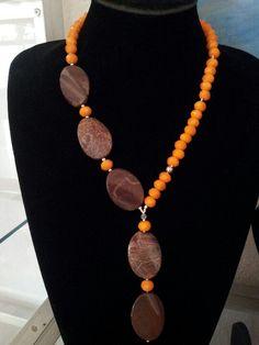 Collar de cristal checo y jaspe. Bead Jewellery, Stone Jewelry, Wire Jewelry, Jewelry Crafts, Beaded Jewelry, Jewelry Necklaces, Jewlery, Diy Necklace, Necklace Designs