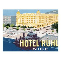 Shop Hotel Ruhl Nice France Vintage Travel Art Postcard created by makemystyle. Vacation Travel, Vacation Trips, Countries Around The World, Around The Worlds, Nice France, Find Hotels, Retro Art, Vintage Travel Posters, Art Designs