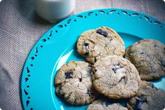 Vegan chocolate chip sugar cookies,  ( I sub  1/2 cup agave nectar for the cane sugar )