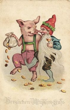 Antique postcard: dancing pig and gnome