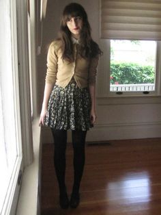 casual work style - add 3 inches to skirt, or wear opaque tights/leggings