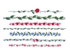Finger Band/Wrist/Ankle Tattoo Ideas,  Red Rose, Flowers,   Green N Red Leaves,Ect...