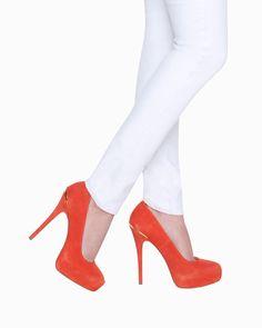 Orange Suede Heels.