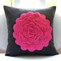 """Hot Pink Rose - 18""""X18"""" Faux Suede Pink Throw Pillows Cover For Couch"""
