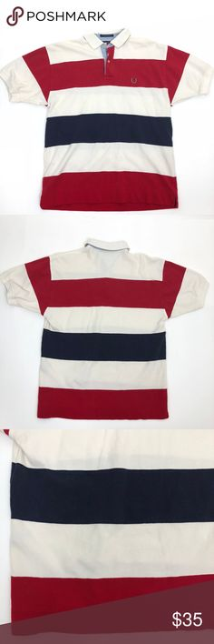 """VTG Tommy Hilfiger Polo Shirt sz Medium About Item: Tommy Hilfiger Polo Shirt sz Medium Red, Blue striped  Condition: Pre Owned No tears no stains  Approx flat measurements: Pit to pit:21"""" Waist:20.5"""" Length:26"""" Shoulder to shoulder:20"""" Tommy Hilfiger Shirts Polos"""